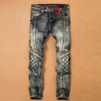 Skinny jeans mens ripped Fashion design jeans denim hip hop slim homme Size 28-38- Blue - intl