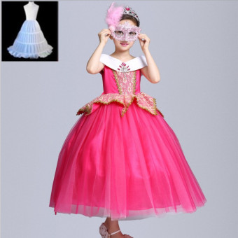 Sleeping Beauty Halloween's Day birthday costume girls dress (Pink skirt + mask + panniers (to send CROWN scepter))