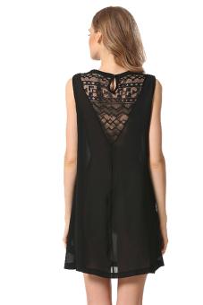 Sleeveless Chiffon Dress (Black) - picture 2