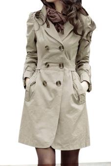 Slim Fit Double-breasted Long sleeve Coat Jacket (Grey)