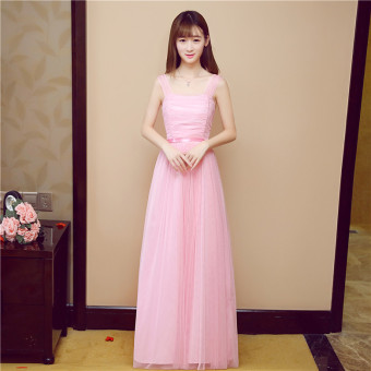 Slimming bridesmaid dress (Pink shoulder Multi way bag shoulder)