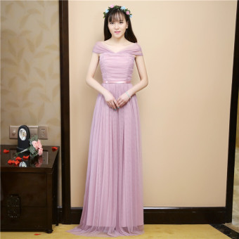 Slimming bridesmaid dress (Red bean paste color long tie shoulder Multi way Halter)
