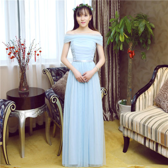 Slimming bridesmaid dress (Sky blue color A-line shoulder multi-wear boob tube top)
