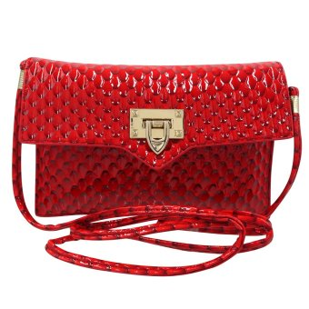 Sling Bag Ladies Decorative Leather Clip Lock (Red)