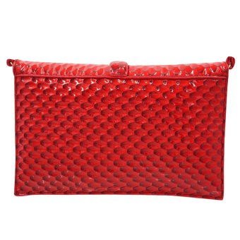 Sling Bag Ladies Decorative Leather Clip Lock (Red) - 4