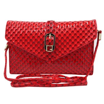 Sling Bag Ladies Decorative Leather Magnetic Lock (Red)