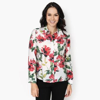 SM Woman Career Floral Long Sleeve Blouse (Red) Price Philippines