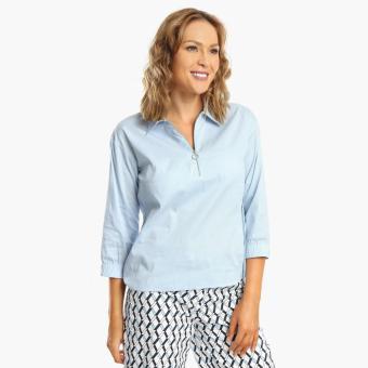 SM Woman Career Poplin Long-Sleeved Blouse (Blue)