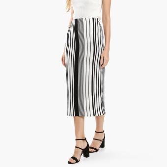 SM Woman Career Striped Pencil Skirt (Black)
