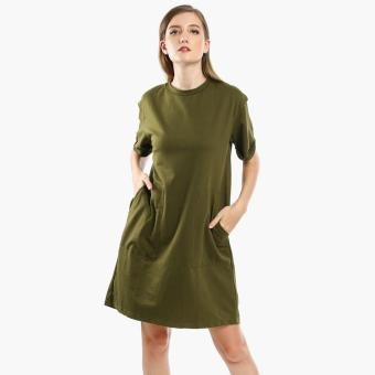 SM Woman Cuffed Sleeves Shirt Dress (Olive)