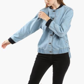 SM Woman Denim Bomber Jacket (Light Blue)