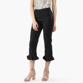 SM Woman Ponte Ruffled Skinny Pants (Black)