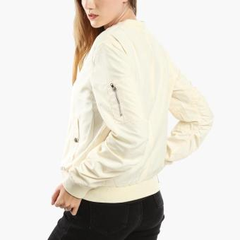 SM Woman Ruched Bomber Jacket (Beige) - 3