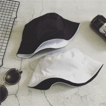 Small celebrity inspired rabbit bucket hat (Solid color black and white double-sided)
