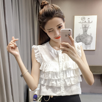 Small fresh off-the-shoulder sleeveless collar Top flounced shirt (White)