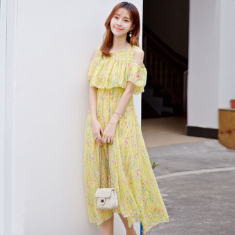 Small fresh Slim fit Slimming effect long section skirt chiffon dress (Yellow color)