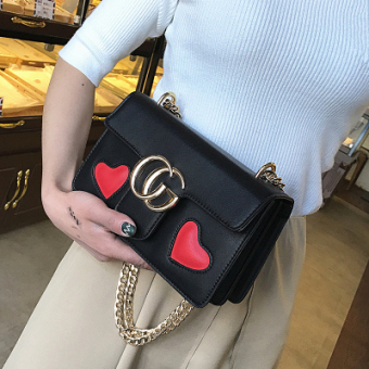 Small Square in Europe and America female New style contrasting color chain bag (Black)