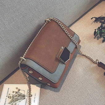 Small Square Korean-style female New style atmosphere shoulder messenger bag small bag (Brown)
