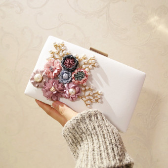 Small Square Korean-style Flower Chain bag New style women's bag (White) (White)