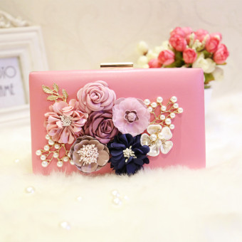 Small Square Korean-style New style Pearl clutch bag flower bag (Watermelon Powder)