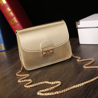 Small Square Korean-style winter New style student women's bag chain messenger bag (Gold)