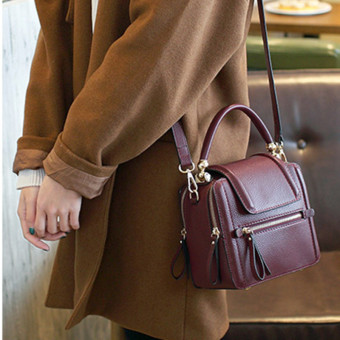 Small Square Korean-style women's bag leather women's bag (Purplish red color)