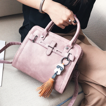 Small Square retro female shoulder bag (Lotus pink with Meng girl tassled pendant)