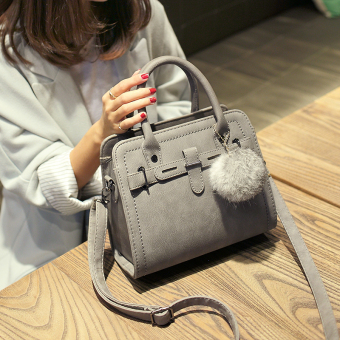 Small Square Shishang bag shoulder bag (Gray with real rabbit fur ball)