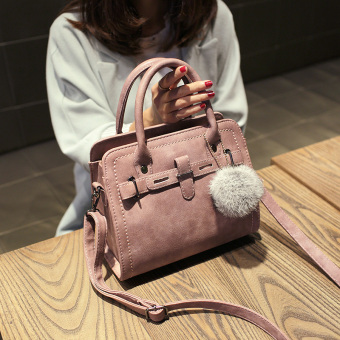 Small Square Shishang bag shoulder bag (Lotus pink with real rabbit fur ball)
