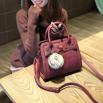 Small Square Shishang bag shoulder bag (Wine red color with real rabbit fur ball)