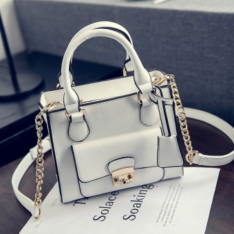 Small Square Stylish spring and summer bag lock shoulder bag women's bag (White)