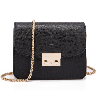 Small Square versatile female New style shoulder bag (Black)