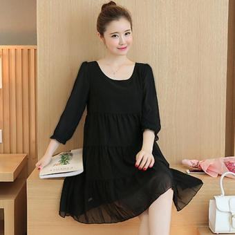Small Wow Maternity Daily Round Solid Color chiffon Above Knee Dress Black - intl