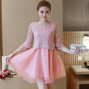 Small Wow Maternity Daily Round Solid Color Lace Above Knee Dress Pink - intl