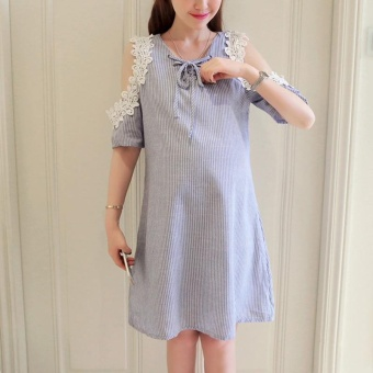 Small Wow Maternity Daily Round Stripe Cotton Loose Above Knee Dress Blue - intl