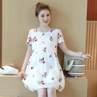 Small Wow Maternity Elegant O-neck Print Cotton Loose Above Knee Dress White - intl - 3