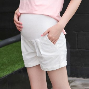 Small Wow Maternity Fashion Loose Solid Color Thin Linen Short Pants for Summer White - intl