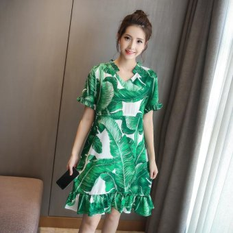 Small Wow Maternity Fashion V-neck Print Cotton Loose Above Knee Dress Green - intl
