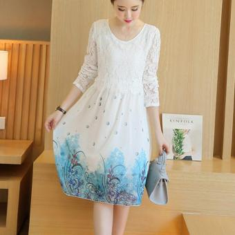 Small Wow Maternity Korean Round Print chiffon Loose Above Knee Dress White - intl