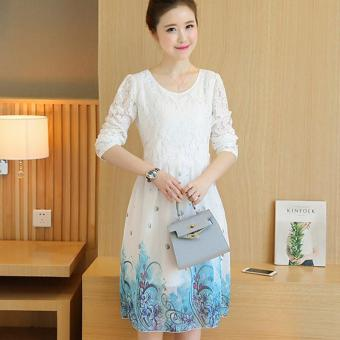 Small Wow Maternity Korean Round Print chiffon Loose Above Knee Dress White - intl - 2