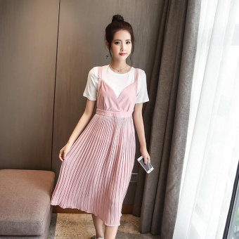 Small Wow Maternity Korean Round Solid Color chiffon Loose Long Two-piece Dress Pink - intl