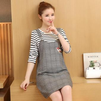 Small Wow Maternity Korean Round Stripe Cotton Loose Above Knee two-piece Dress Grey - intl