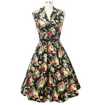 Small wow Women's Sleeveless Fashion Print Slim Vintage Dresses Black - intl Price Philippines