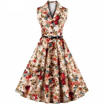 Small wow Women's Sleeveless Retro Print Slim Floral Dresses Yellow - intl Price Philippines