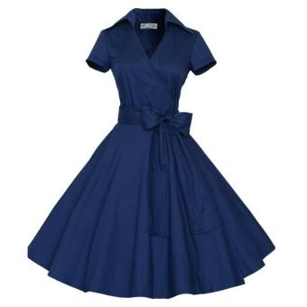 Small wow Women's Short Sleeve Retro Solid Color Slim Dress SkirtBlue - intl Price Philippines
