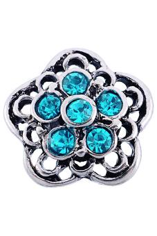 Snap Mini Button Fit Snap Bracelet Cameo Flower Rhinestone Blue