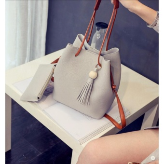 SNS Korean 2 in 1 Bucket Bag and Make up Pouch Sling Bag (Grey)