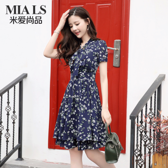 Soft ladies long section temperament short-sleeved chiffon skirt small floral dress (Dark blue color)