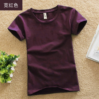 Solid color female Slim fit bottoming shirt New style Top (Amaranth red)