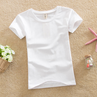 Solid color female Slim fit bottoming shirt New style Top (White)